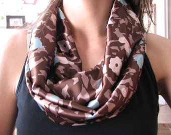 SCARF - Infinity Scarves - Taupe and Blue - Floral