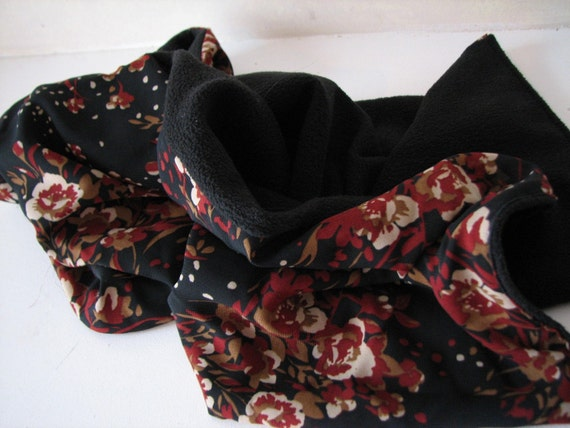 Black and Brick Red Floral  Silk Scarf with Black Chamois Fleece