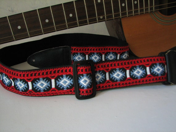 Red, White and Blue Vintage Trim Guitar Strap