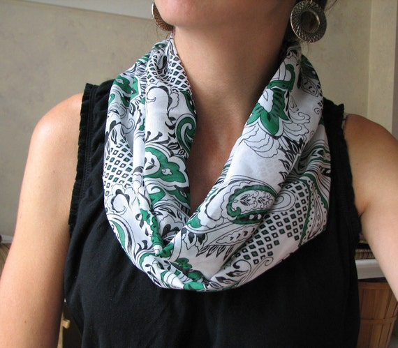 White and Emerald Green Paisley Chiffon Infinity Scarf