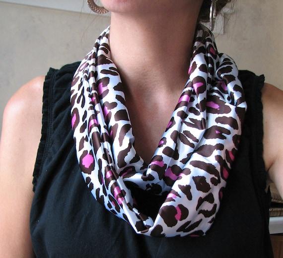 the infinity scarf  Fuschia and Brown Cheetah Print Satin Scarf