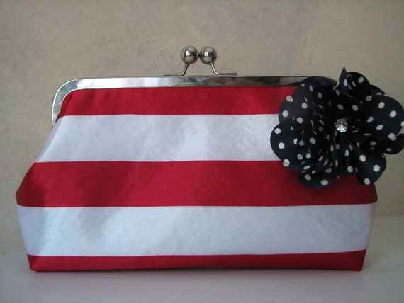 Handmade Red, White and Blue Convertible Clutch with strap