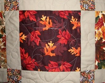 Lap Quilt, Autumn Table Topper, Fall Theme, Fall Leaves,  Quiltsy Handmade