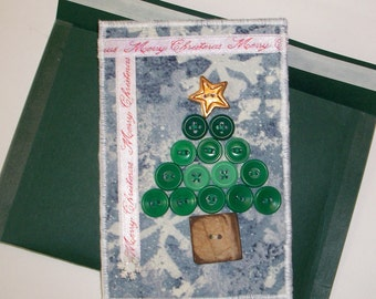 Fabric, Christmas Postcard - Button Embellished - Quiltsy Handmade