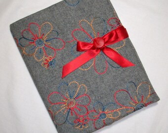 Grey Wool, Quilted Journal, Cover with journal