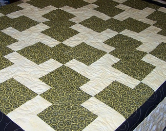 Twin Quilt, Full Size Quilt, Modern Swirls, Quilt, Black and Pale Yellow, Quiltsy Handmade