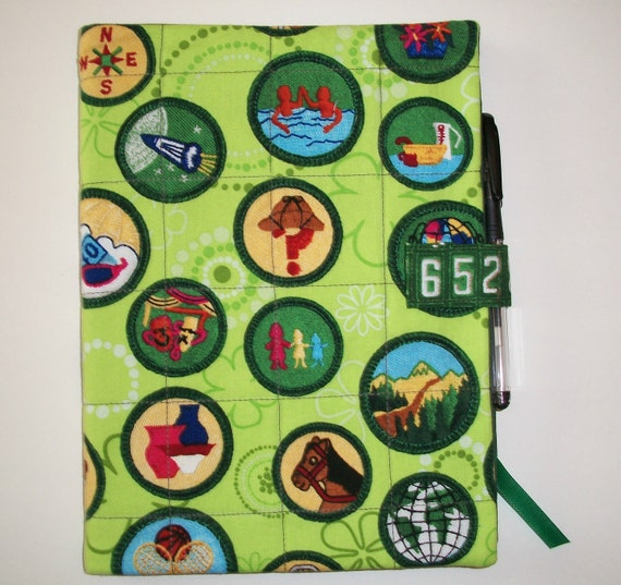 Quilted Junior Girl Scout Journal Cover with journal