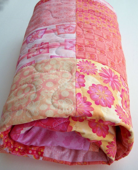 Pink Butterflies and Daisies Baby Quilt - Wall Hanging