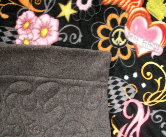 Fleece Quilt, Lap Quilt, Couch Throw, Best Friends, Quiltsy Handmade