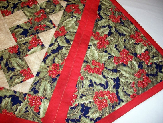 Christmas Holly, Quilted Table Topper, Quiltsy Handmade