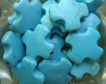 10 Turquoise Howlite Cross Beads