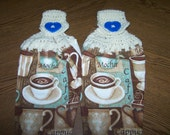 Coffee Time Crocheted Hanging Towels - Set of Two - Great Christmas gift