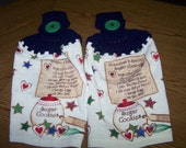 Crocheted Christmas Hanging Towel Set of Two - Grandmas Sugar Cookie Recipe - Cute - Washable - Gift