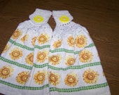 Crocheted Hanging Towels - Set of Two Sunflower Towels - Fresh and Pretty