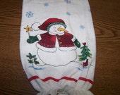 Snowman -  Snowflakes - Plastic Bag Holder  - Gift