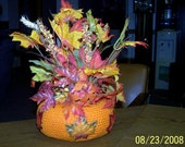 Orange Crocheted Thanksgiving - Autumn - Fall - Plant Holder Centerpiece - Decorative - Unique - Gift