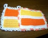 Crocheted Set of 2 Lovely Large Trivets/Pot Holders - Yellow and Orange - Vintage Look - Unique