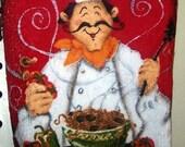 Chef with Spaghetti Plastic Bag Holder - Red - White - Green - Black - Gift