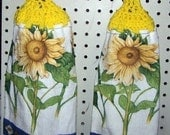 Crocheted Yellow Sunflowers Hanging Hand Towels - Set of 2 - Gift - Kitchen - Bathroom