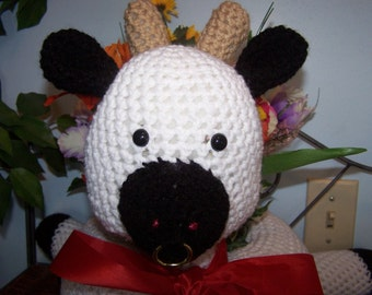 Crocheted Bull or Cow -  Black and White Planter Centerpiece - My Own Pattern