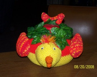 Bird Crocheted Planter Animals Filled with Silk Flowers or Candle - Decoration - Toy
