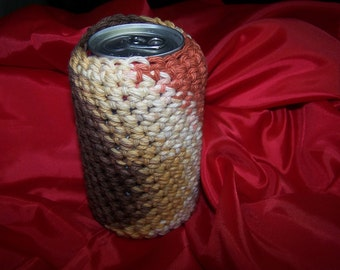Crocheted Bottle or Can Cozy - Brown - Rust - Tan Colors - Great gift Idea - Unique