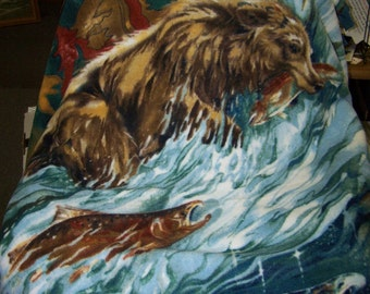 Grizzly Bears  Catching Salmon Fish in a Waterfall  Fleece Tie Blanket - 50 x 60