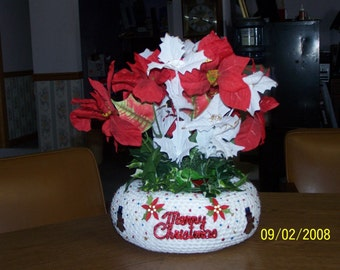 Crocheted Red,White and Blue Christmas Plant Holder Filled with Candle or Silk Flowers - Decorative - Gift - Unique