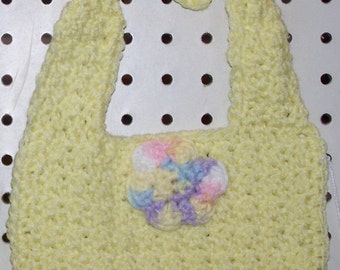 Crocheted Baby Yellow Bib with Multicolored Flower on it - Newborn to 6 months Size- Gift - Washable