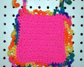 Crocheted Bright Pink Baby Bib - Newborn to 6 months Size - Washable - Gift