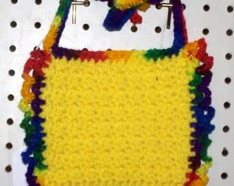 Crocheted Bright Yellow Baby Bib - Newborn to 6 Months Size - Washable - Gift