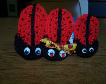 Crocheted Ladybug Refrigerator Magnets - Red - Black - Special Gift - Unique