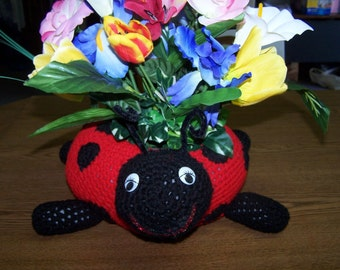 Crocheted Ladybug Planter/Centerpiece Animal Filled with Silk Flowers or Candle - Decoration - Toy