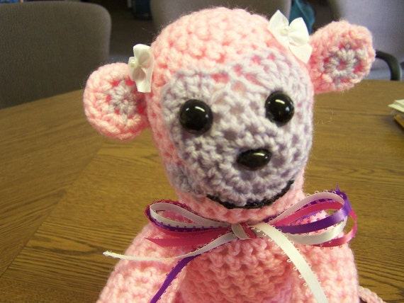 Stuffed Animal - Crocheted Pink and Lavender Baby Monkey - Cute as a button - Washable - One of a Kind