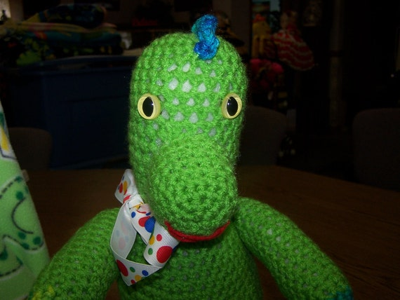 Stuffed Animal - Crocheted Dinosaur - Unique Beautiful Toy for Boys and Girls alike - Green
