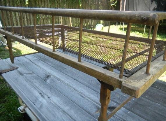 Antique Primitive Child Wood Iron  Bed Folding Legs
