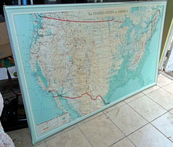 Vintage United States Relief Map Wall Mount