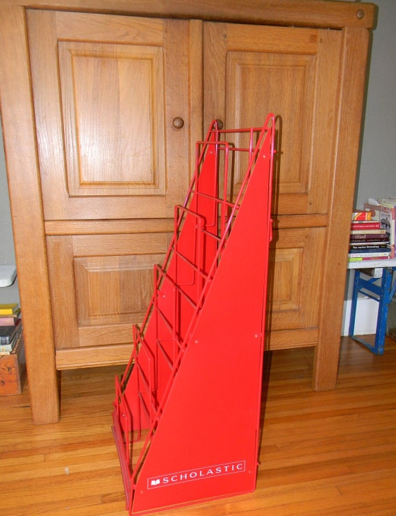 RESERVED Scholastic Metal Display Rack Fire Engine Red