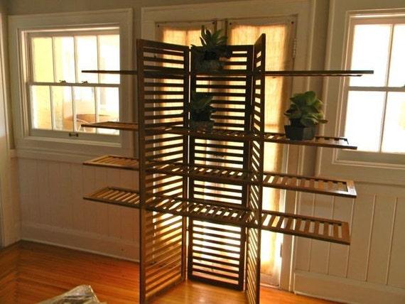 Vintage Wood Slatted Bookcase Or Room Divider