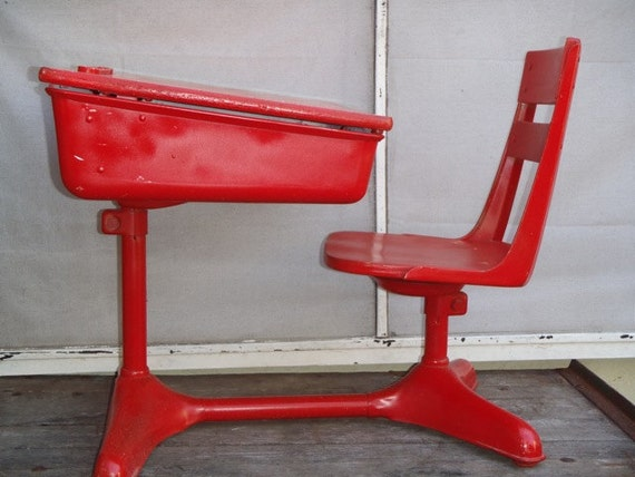 Fire Engine Red Vintage 1940s Industrial School Desk