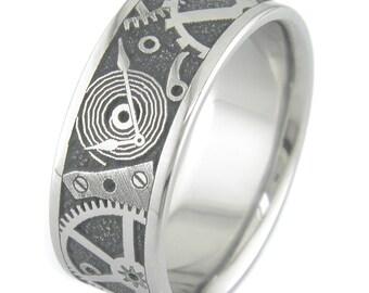 Chronos Steampunk Style Titanium Ring