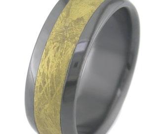 Golden Meteorite in Black Zirconium