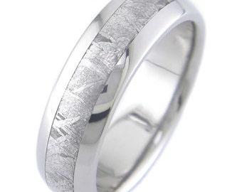 Gibeon Meteorite Inlay Titanium Ring