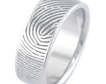 Fingerprint Titanium Ring