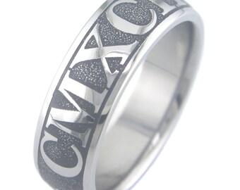 Roman Numerals Custom Titanium Ring