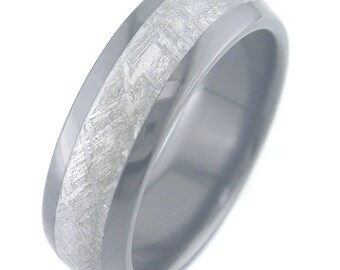 Black Zirconium Ring with Meteorite Inlay