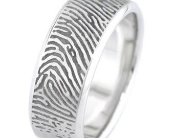 Cobalt Chrome Custom Fingerprint Ring