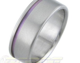 Flat with Offset Color Stripe Titanium ring
