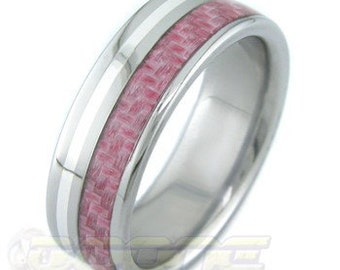 Titanium Ring and Carbon Fiber (Pink) Wedding Band--Signature Series with solid Silver