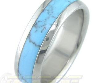 Titanium with Turquoise stone inlay
